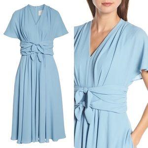 Gal Meets Glam Jane Tie Waist Midi Blue Dr…